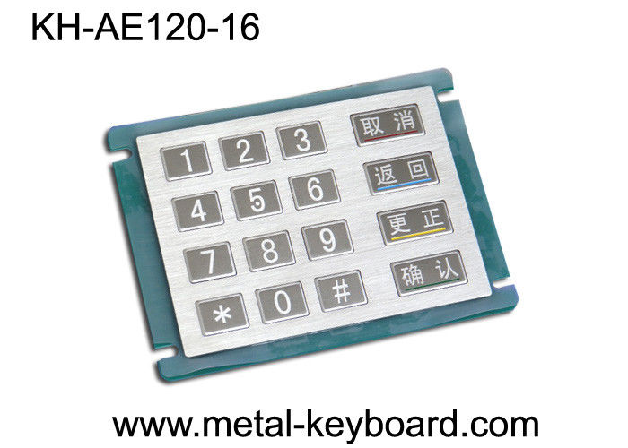 16 Keys Stainless Steel Metal Numeric Keypad In 4x4 Matrix , Vandal proof