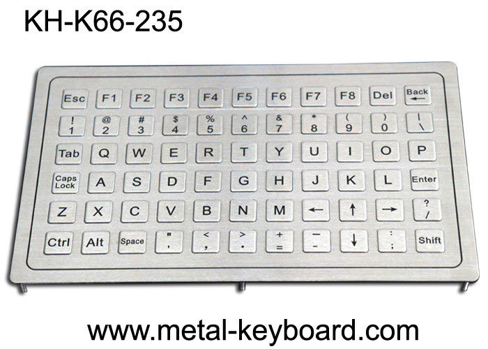 Rugged Stainless Steel Keyboard , Metal Computer Keyboard Waterproof Panel Mount 66keys
